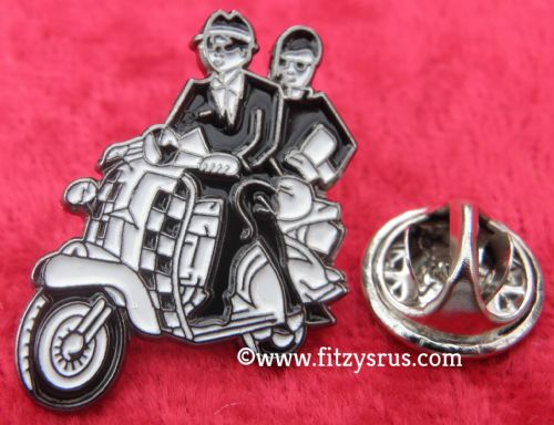 Ska Couple & Scooter Mod Lapel Hat Cap Tie Pin Badge Reggae Two Tone Mods Brooch